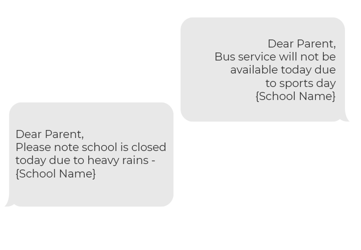 Illustration of notification: 'Pleasantville School District: All school  buses delayed for dropoff today because of snow. More updates to follow.'